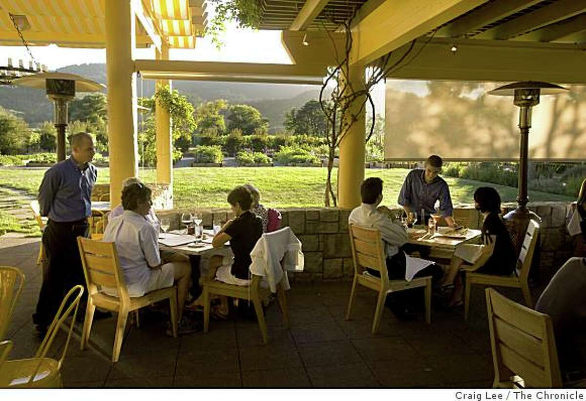 The outdoor patio dining area at 25 degrees Brix restaurant in Yountville, Calif., on August 25, 2008.