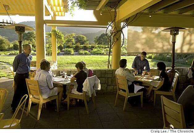 The outdoor patio dining area at 25 degrees Brix restaurant in Yountville, Calif., on August 25, 2008. Photo: Craig Lee, The Chronicle