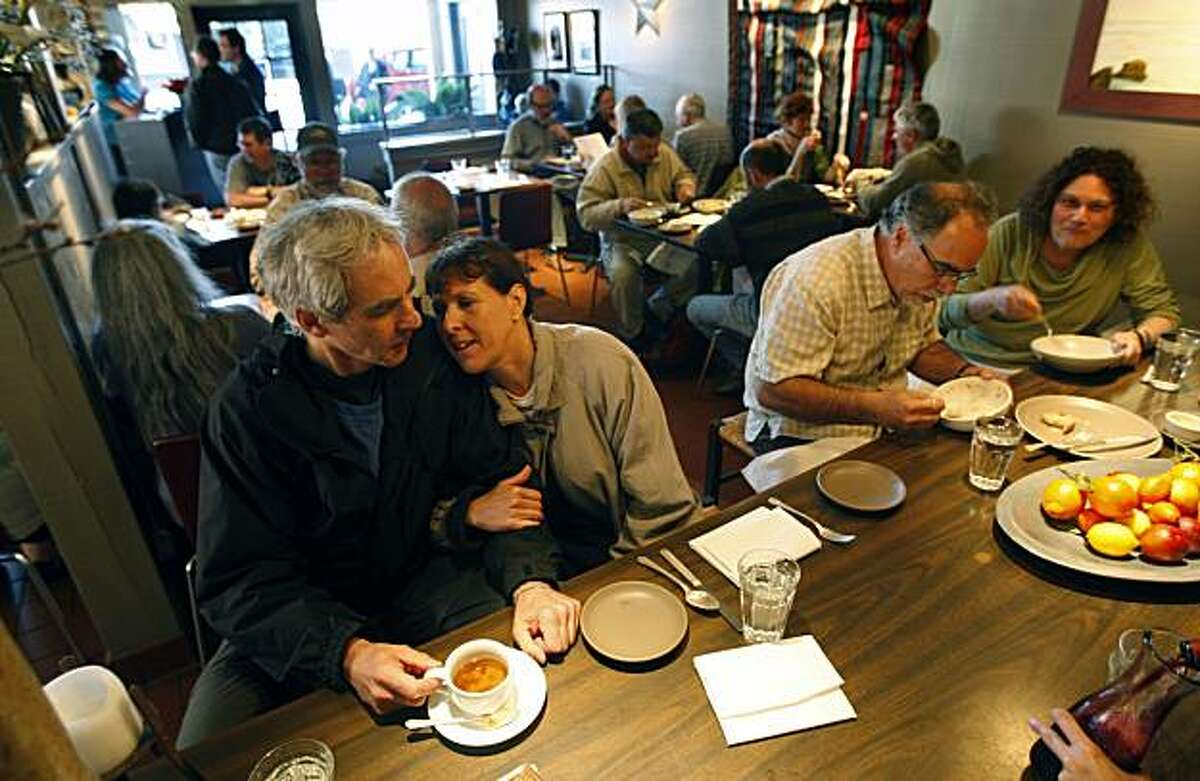 Stephen Grossberg and Jill Abrams finish off their dinner at Stellina restaurant in Point Reyes Station with coffee. Friday April 17, 2009