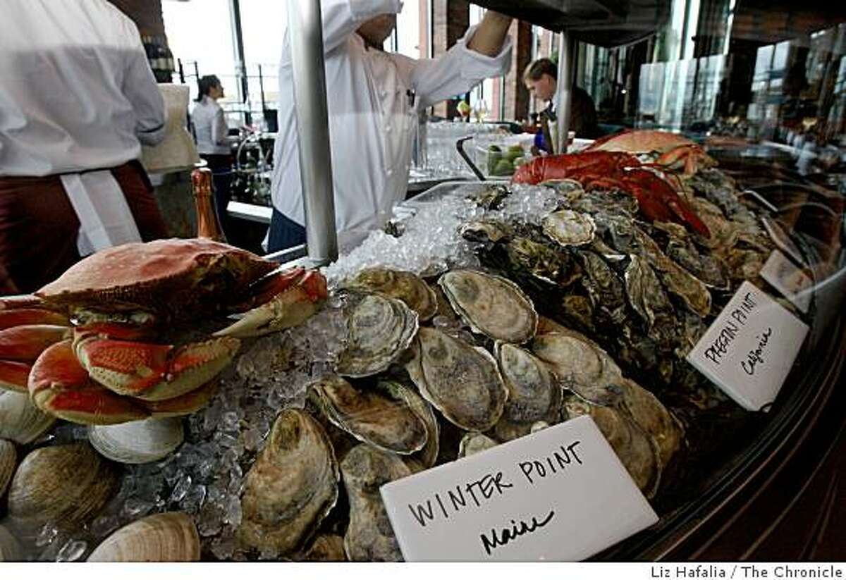 A choice of oysters at Waterbar at the Embarcadero in San Francisco, California, on Thursday, February 4, 2009.