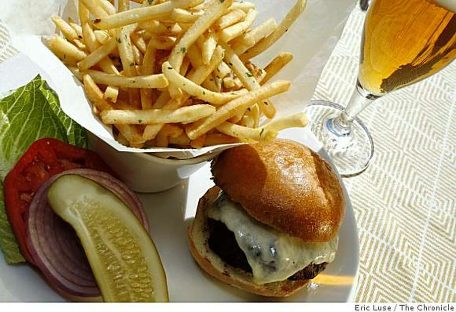 Grilled Angus Burger with Pommes Frited on the bar deck of Auberge du Soliel in Rutherford photographed  on Friday, October 3, 2008. Photo: Eric Luse, The Chronicle
