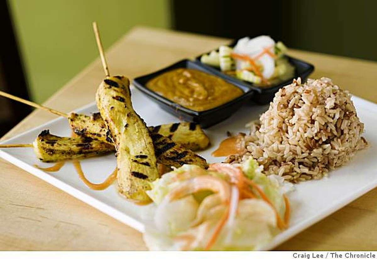 Chicken Satay skewers at Anchalee Thai Cuisine restaurant in Berkeley, Calif., on September 24, 2008.