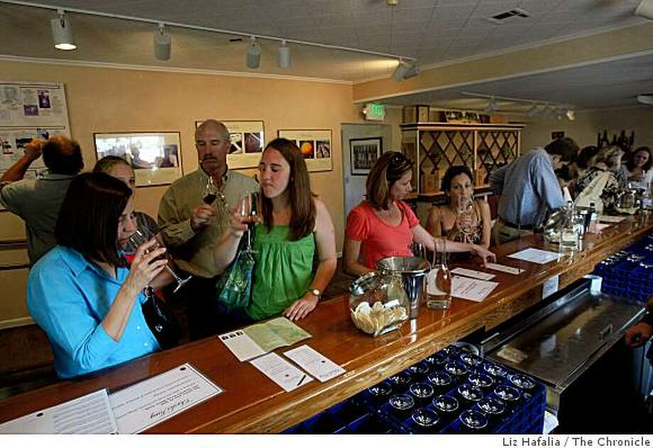 Charles Krug tasting room being visited in St. Helena, Calif., on Tuesday, August 5, 2008. Photo: Liz Hafalia, The Chronicle