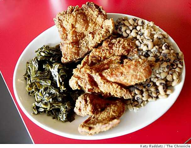 Fried chicken with sides of blackeyed peas and collard greens at the Hard Knox Cafe on Clement St., in San Francisco, CA. Photo: Katy Raddatz, The Chronicle