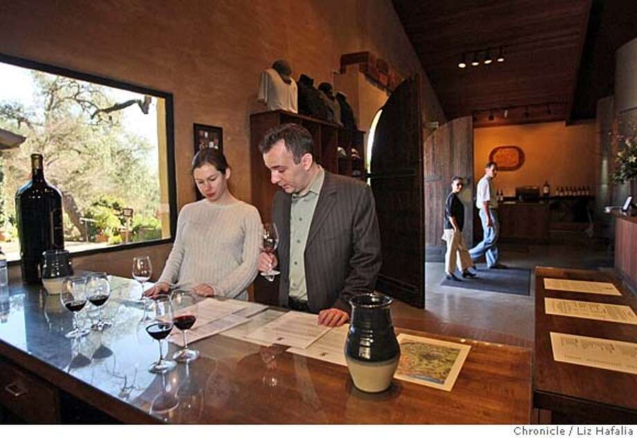 ###Live Caption:Courtney Dankworth and Russell Capone visiting Stag's Leap Wine Cellars  in Napa, Calif., on Thursday, February 28, 2008. Photo by Liz Hafalia / San Francisco Chronicle###Caption History:Courtney Dankworth and Russell Capone visiting Stag's Leap Wine Cellars  in Napa, Calif., on Thursday, February 28, 2008. Photo by Liz Hafalia / San Francisco Chronicle###Notes:Courtney Dankworth (left) and Russell Capone (right), who flew in from New York this morning, visiting Stag's Leap Wine Cellars in Napa, Calif., on Thursday, February 28, 2008. They are trying a variety of 2004 cabernet sauvignon.  Liz Hafalia / The Chro###Special Instructions:�2008, San Francisco Chronicle/ Liz Hafalia  MANDATORY CREDIT FOR PHOTOG AND SAN FRANCISCO CHRONICLE. NO SALES- MAGS OUT. Photo: Liz Hafalia