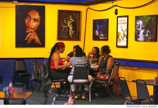Diners enjoy a meal at Sweet Fingers, a Jamaican restaurant, on Sunday April 13, 2008 in San Leandro, Calif.  Photo By Lea Suzuki/ San Francisco Chronicle Photo: Lea Suzuki