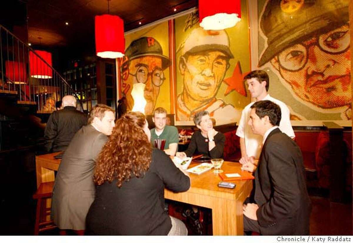 d.17_OIZAKAYA In the dining room of O Izakaya Lounge, a new restaurant in the Hotel Kabuki in Japantown. The walls are decorated with photo murals of Japanese baseball cards. These pictures were made on Thursday, Jan. 24, 2008, in San Francisco, CA. KATY RADDATZ/The Chronicle