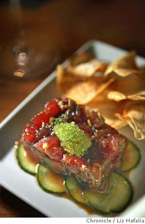 �d.25PRES A VI_PH189_LH.jpg Hawaiian ahi tartare--blended with kukui nuts, meyer lemon zest, sesame oil and soy topped with wasabi tobiko and taro chips. Pres a Vi is one of the new restaurants opening in the Presidio. Photographed by Liz Hafalia on 01/26/07. Photo: Liz Hafalia