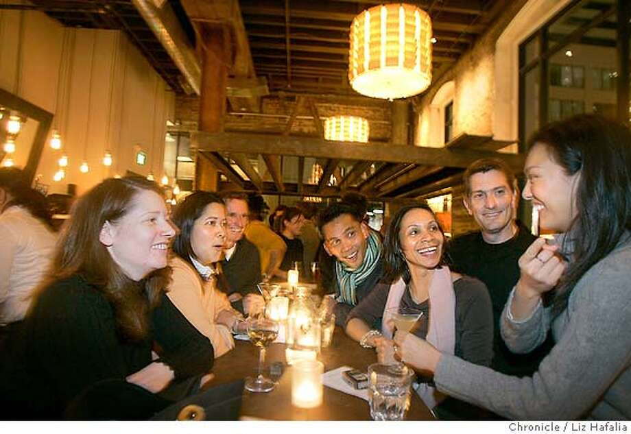 �d.04 salthouse_048_LH.jpg Salthouse is a new restaurant owned by the same team that opened Town Hall. Co-workers from Charles Schwab got together to celebrate the in house engagement of Karla Rivera and Steve Hunt. Clockwise from left front--Paige Kelly, Karla Rivera, Steve Hunt, Arvin Munoz, Jennifer Davis, Jeff Hannan, and Cathy Ching. cq--Paige Kelly, Karla Rivera, Steve Hunt, Arvin Munoz, Jennifer Davis, Jeff Hannan, Cathy Ching Liz Hafalia/ sfcd.04 salthouse_048_LH.jpg Photo: Liz Hafalia