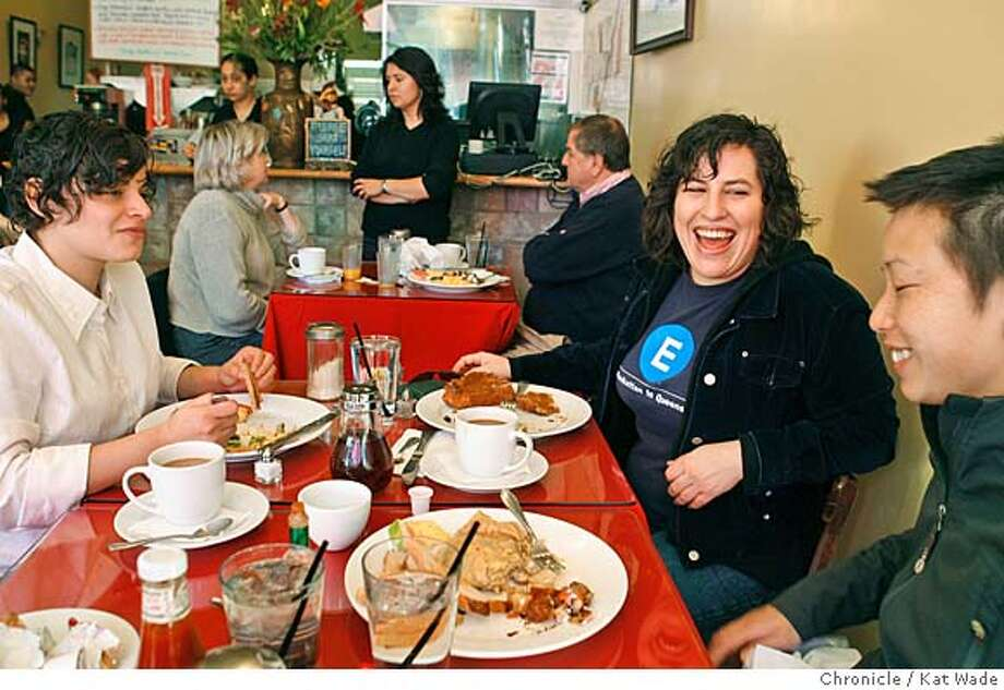BARGAINBITE_033_KW_.jpg  (L to R) Maricella Herrera and Claudia von Vacano (CQ) from Oakland eat breakfast at Cock-A-Doodle Cafe in Oakland on Washington Street that hustles and bustles with the Sunday crowd January 21, 2007. In the background Hostess Ana Trujillo chats with customers Shari and Dave Dunn of Oakland. Kat Wade/The Chronicle Mandatory Credit for San Francisco Chronicle and photographer, Kat Wade, Mags out Photo: Kat Wade