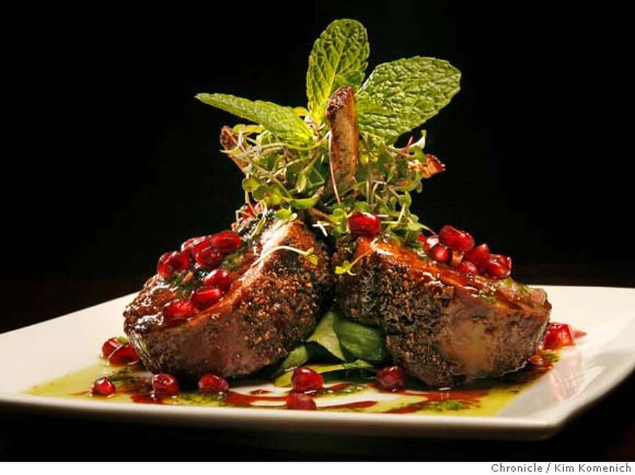 "�D.25CIRCA_032_KK.JPG The owners of Cosmo's corners have turned the space into a sexy restaurant/lounge named Circa. Erik Hopfinger is chef. The CIRCA menu lists this as ""Moroccan Spiced Roasted Australian Rack of Lamb 'Lollichops' with mint chimichurri and pomegranate molasses. Photo by Kim Komenich/The Chronicle �2006, San Francisco Chronicle/Kim Komenich MANDATORY CREDIT FOR PHOTOG AND SAN FRANCISCO CHRONICLE/ -MAGS OUT Photo: Kim Komenich"
