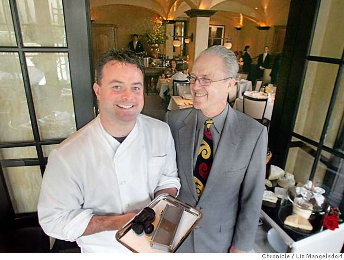 d.15cyrus027_lm.JPG Event on 4/27/05 in Healdsburg. Cyrus, a new restaurant in Healdsburg. chef Kouglas Keane, left, holding truffles, and Nick Peyton. Liz Mangelsdorf / The Chronicle Ran on: 05-15-2005 Thai marinated lobster with mango and fresh hearts of palm. MANDATORY CREDIT FOR PHOTOG AND SF CHRONICLE/ -MAGS OUT