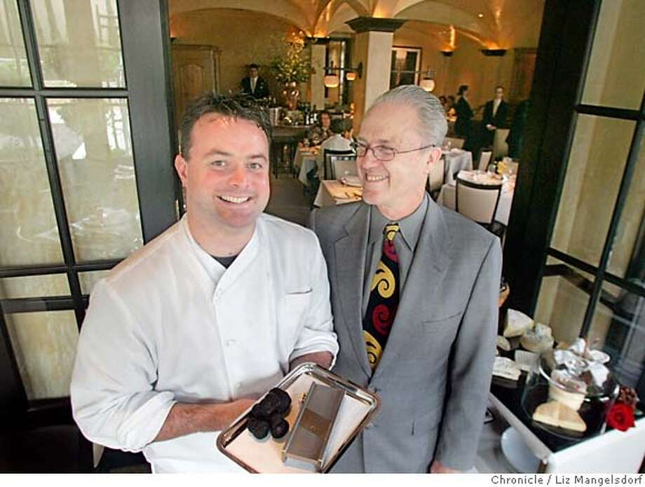 d.15cyrus027_lm.JPG Event on 4/27/05 in Healdsburg.  Cyrus, a new restaurant in Healdsburg. chef Kouglas Keane, left, holding truffles, and Nick Peyton.  Liz Mangelsdorf / The Chronicle Ran on: 05-15-2005  Thai marinated lobster with mango and fresh hearts of palm. MANDATORY CREDIT FOR PHOTOG AND SF CHRONICLE/ -MAGS OUT Photo: Liz Mangelsdorf