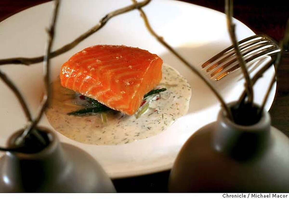 """.jpg Slow Cooked Tasmanian Ocean Trout sea beans,cucumber,yogurt-dill sauce. Chef Daniel Patterson has opened a new restaurant, """"Coi"""" in North Beach along Broadway near Sansome St. Event in, San Francisco, Ca, on 6/13/06. Photo by: Michael Macor / San Francisco Chronicle Mandatory credit for Photographer and San Francisco Chronicle / Magazines Out"""