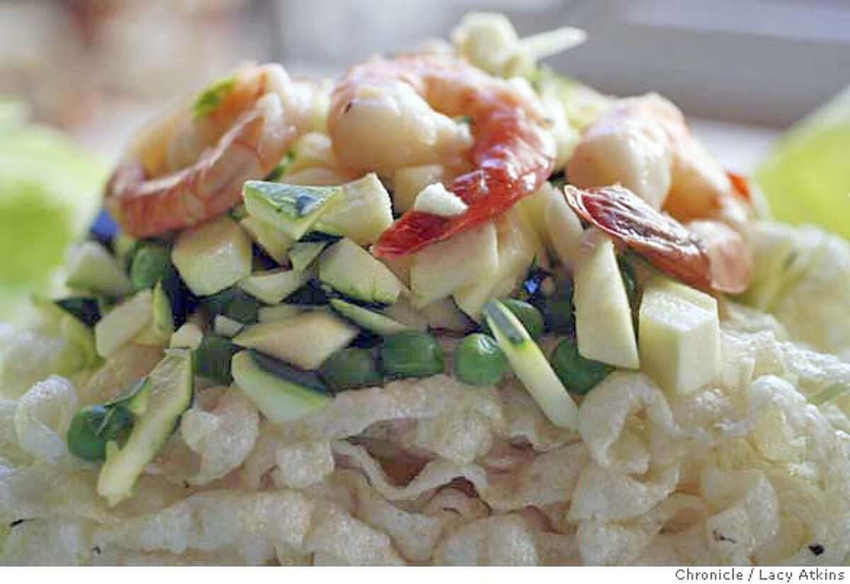 The House of Nanking special dish rolling lettuce shrimp, Sunday June 18, 2006, in San Francisco, Ca.(Lacy Atkins/The Chronicle) MANDATORY CREDITFOR PHOTGRAPHER AND SAN FRANCISCO CHRONICLE/ -MAGS OUT