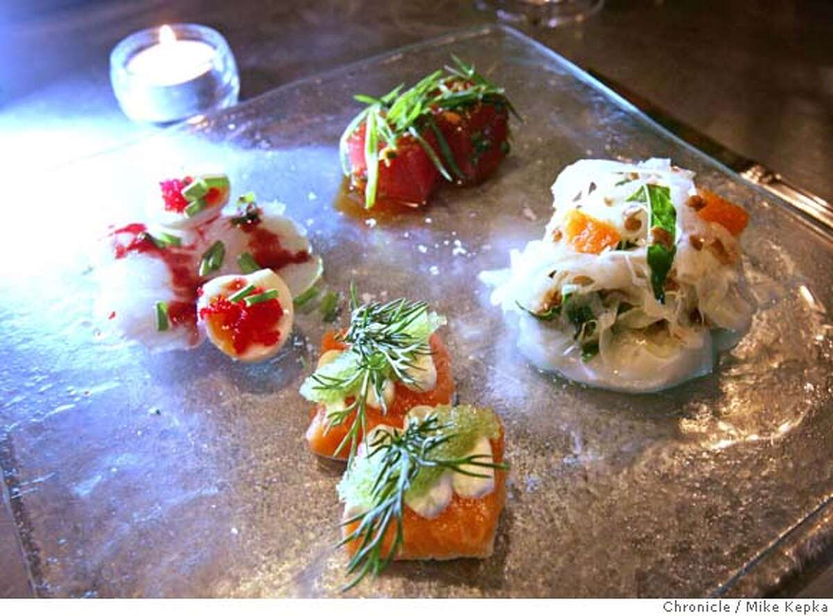 The crudo sampler - Bar Crudo 603 Bush in San Francisco. Mike Kepka / The Chronicle MANDATORY CREDIT FOR PHOTOG AND SF CHRONICLE/ -MAGS OUT