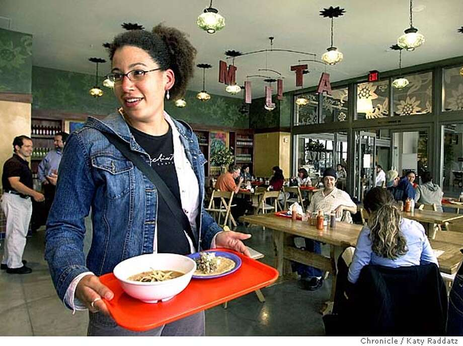 WHATSNEW25012_rad.jpg SHOWN: At Mijita, a tacqueria at 44 Ferry Building, Amy Gilmore of San Francisco picks up her tray of tortilla soup and carnitas taco. Mijita, a new tacqueria in the Ferry Building, 44 Ferry Building. Katy Raddatz / The Chronicle MANDATORY CREDIT FOR PHOTOG AND SF CHRONICLE/ -MAGS OUT Photo: Katy Raddatz