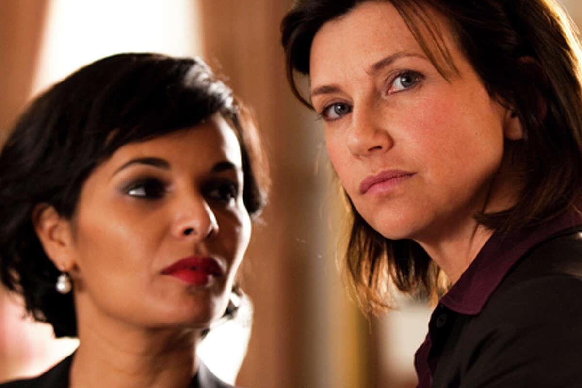 (L-R) Saïda Jawad as Rachida Dati and Florence Pernel as Cécilia Sarkozy in