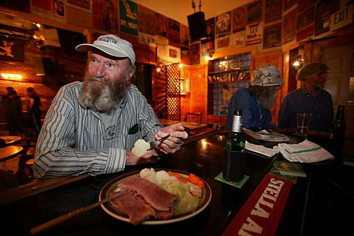 Mike Hughes, father of owner, having tonight's special--corned beef, cabbage, potatoes and carrots-- at Starry Plough Pub in Berkeley, Calif., on Monday, May 31, 2010.