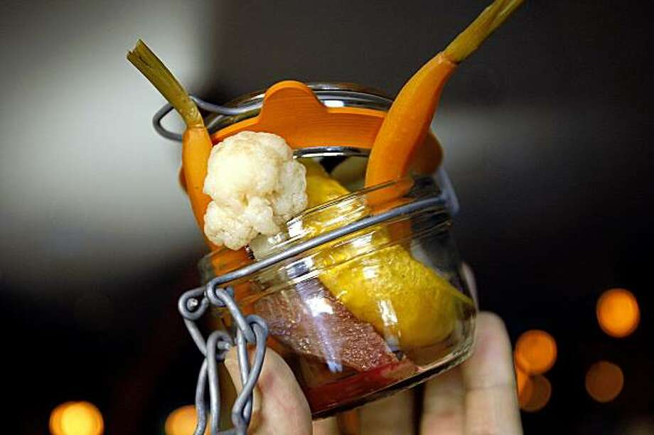 A Pot O' Pickles served at Martins West  a gastropub in Redwood City, Calif., on August 25, 2009. Photo: Frederic Larson, The Chronicle