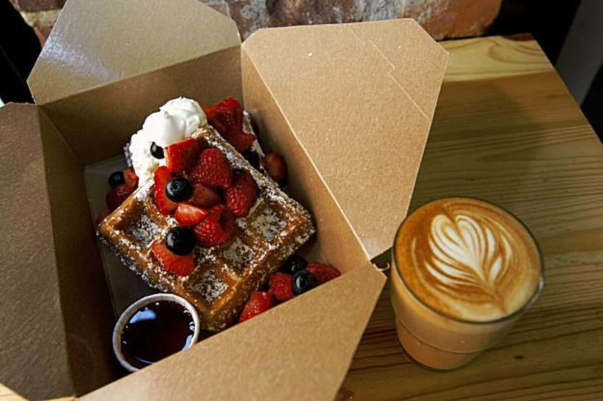 Waffles in box served at Little Skillet which at a takeaway spot for breakfast and lunch serving southern favorites on Ritch alley in San Francisco, Calif., on August 7, 2009.