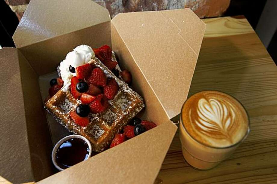 Waffles in box served at Little Skillet which at a takeaway spot for breakfast and lunch serving southern favorites on Ritch alley in San Francisco, Calif., on August 7, 2009. Photo: Frederic Larson, The Chronicle