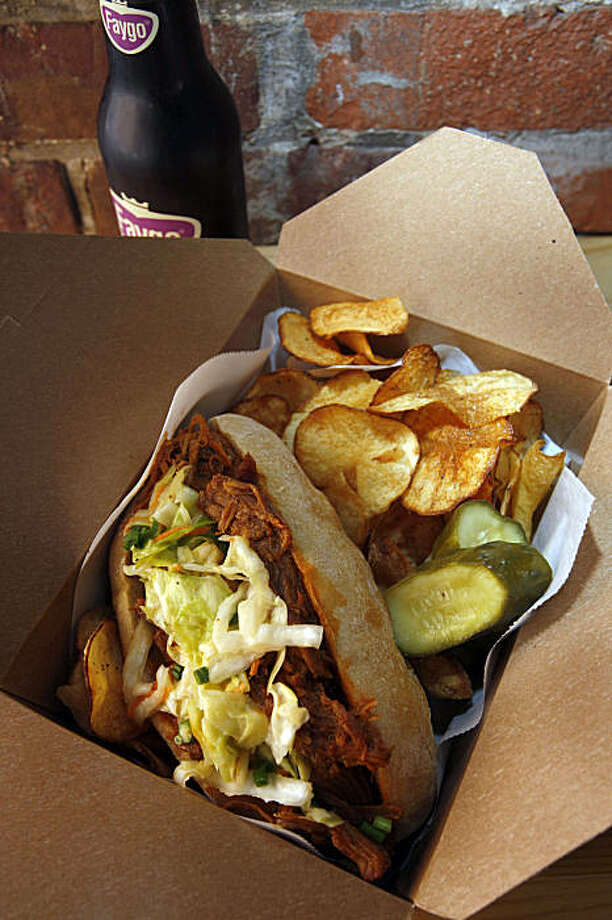 Poor Boy sandwich in a box is served at Little Skillet which is a takeaway spot for breakfast and lunch serving southern favorites on Ritch alley in San Francisco, Calif., on August 7, 2009. Photo: Frederic Larson, The Chronicle