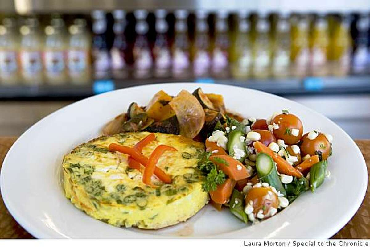 The southwestern corn frittata with a spring vegetable medley and spring vegetable ratatouille at Beautiful, a Laurel Village restaurant that serves fresh, healthy food in San Francisco, Calif., on Saturday, June 20, 2009.