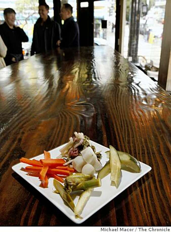 Plate of Pickles. 96 Hours  Bar Bites feature on the Magnolia Pub & Brewery in San Francisco, Calif. on Friday May 1, 2009, on the corner of Haight and Masonic Streets. Photo: Michael Macor, The Chronicle