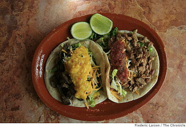 Sonoma Latina Grill has a cafeteria-style line for ordering and features tortillas (handmade), flatbread tacos (2) with grilled chicken and Marinated steak on April 7, 2009. Photo: Frederic Larson, The Chronicle