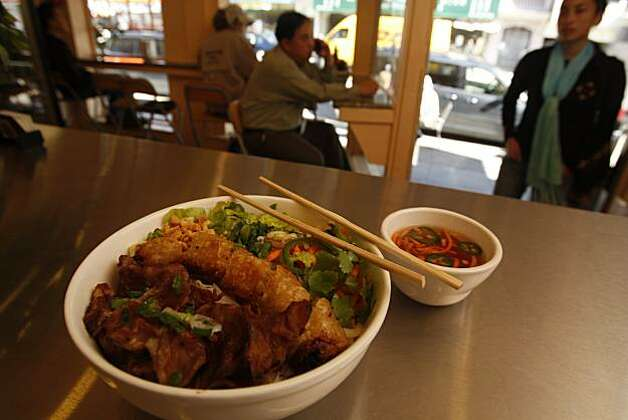 Vermicelli Bowl with Grilled Lemongrass Pork and Imperial Rolls at  the Little Vietnam Cafe in San Francisco  photographed on Friday, February 27, 2009.   Ran on: 03-12-2009  Ran on: 03-12-2009 Photo: Eric Luse, The Chronicle