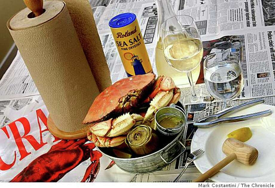 Crab presented as it is served at its Crab Feed is photographed at Netties' Crab Shack in San Francisco, Calif. on Monday, December 2, 2008. Photo: Mark Costantini, The Chronicle