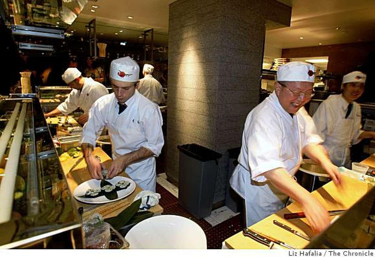 The sushi bar of Ozuma, a new restaurant in Oakland, Calif, on Thursday, December 4, 2008.