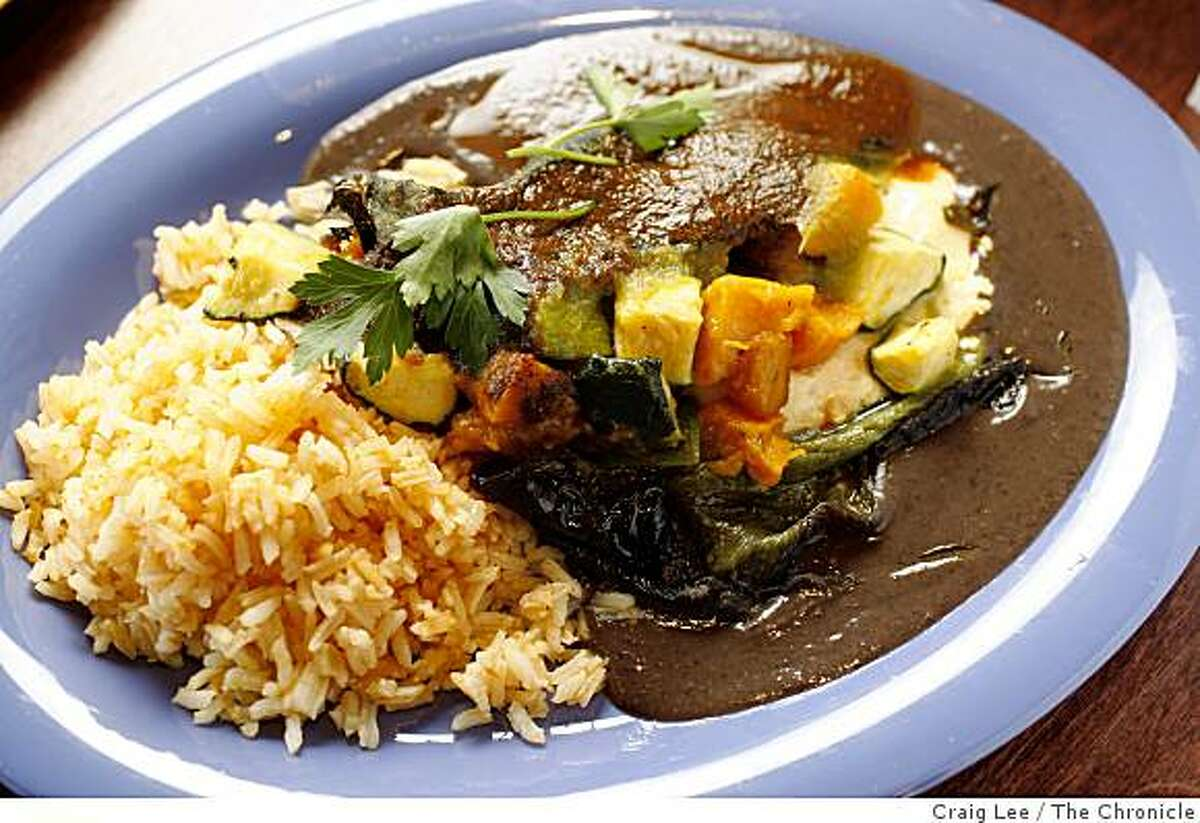 Vegetarian Chile Rellenos at The Oaxacan Kitchen restaurant in Palo Alto, Calif., on October 14, 2008.