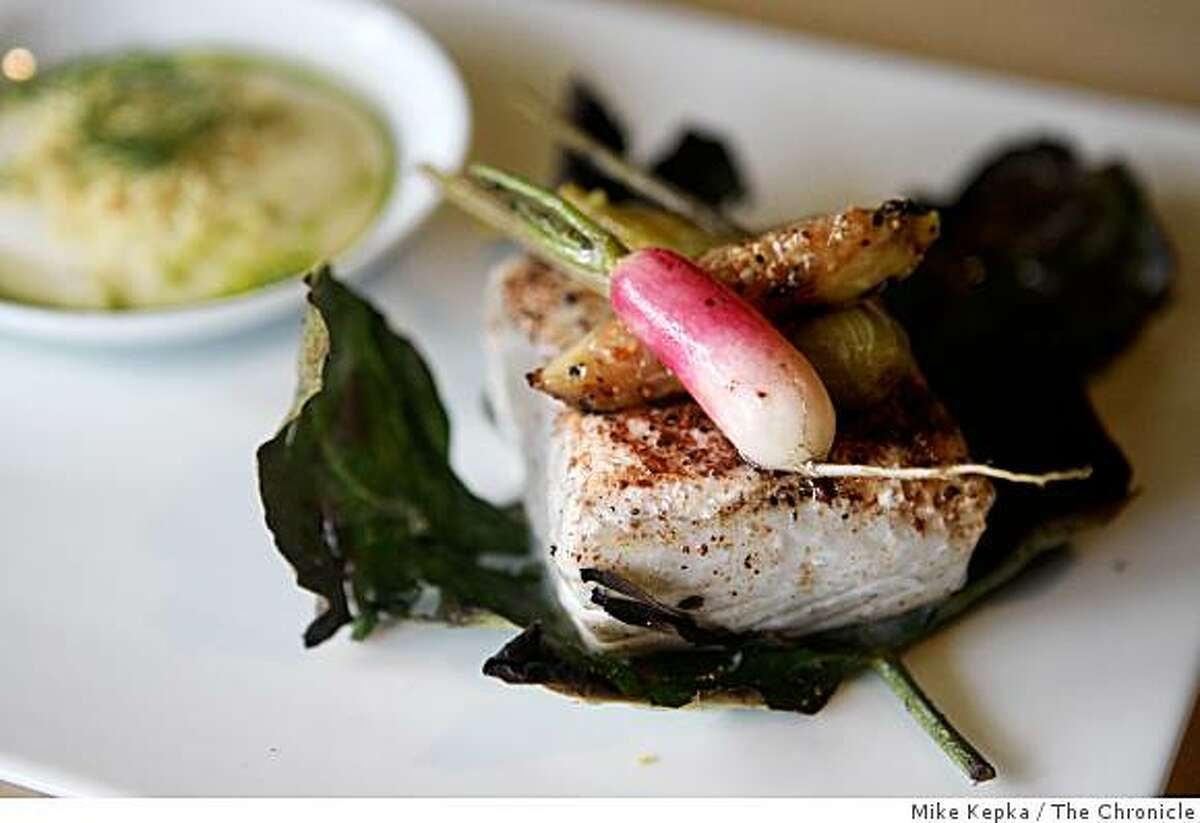 The halibut with roasted fig leaves, sassafras, orange and fennel dish was photographed at Murray Circle, a new restaurant in the newly restored Cavalla Point resort in Fort Baker on Friday July 11, 2008 in Sausalito, Calif. Photo by Mike Kepka / The Chronicle