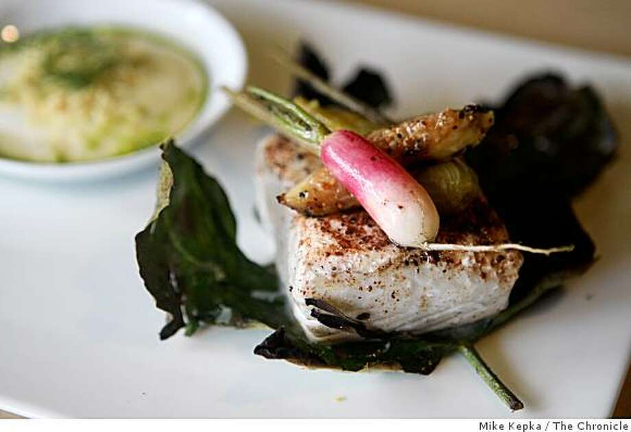 The halibut with roasted fig leaves, sassafras, orange and fennel dish was photographed at Murray Circle, a new restaurant in the newly restored Cavalla Point resort in Fort Baker on Friday July 11, 2008 in Sausalito, Calif. Photo by Mike Kepka / The Chronicle Photo: Mike Kepka, The Chronicle