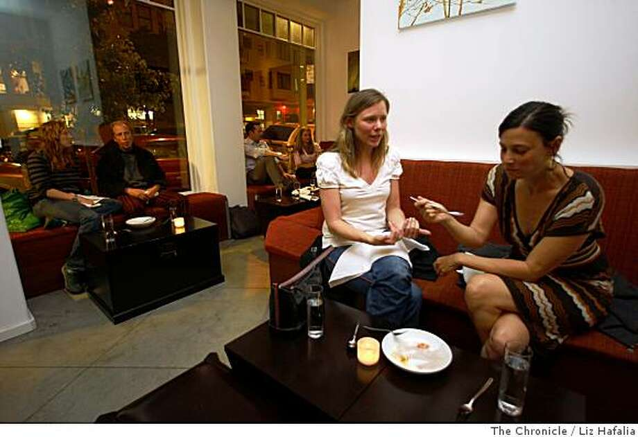 Echo Gaffney (left) and Nicole Brodsky (right), neighborhood patrons, share a vanilla brioche at Candy Bar located in San Francisco, Calif., on Thursday, July 17, 2008. Photo by Liz Hafalia/The Chronicle Photo: Liz Hafalia, The Chronicle