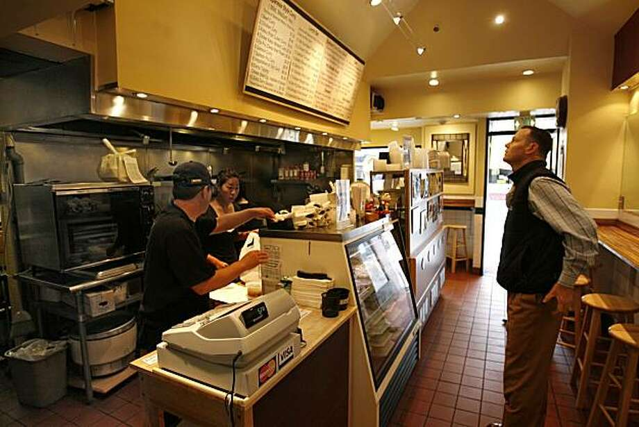 Muraccis is a small Japanese lunch restaurant on Kearny Street in San Francisco, Calif., that features Katsu Curry, Ebi Fry Curry, Chicken Teriyaki lunch set that has a display case w/sushi rolls, dessert and salads. 6/23/08  Photo by Frederic Larson / The Chronicle Photo: Frederic Larson, The Chronicle