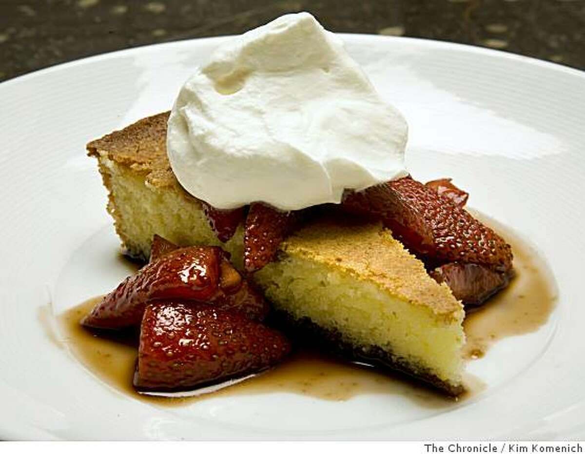 Butter almond cake with macerated strawberries and whipped cream is a featured dish at the Metro Lafayette restaurant in Lafayette, Calif. Photographed on Saturday, June 7, 2008.Photo by Kim Komenich / The Chronicle