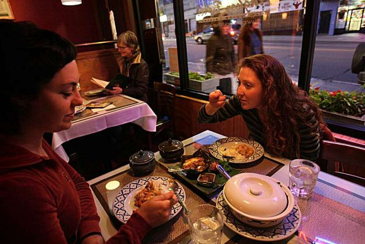 Diana Smith (left) and Kate Nichols dine at Angkor Borei, a Mission District Cambodian restaurant in San Francisco, Calif., on Friday, May 30, 2008.