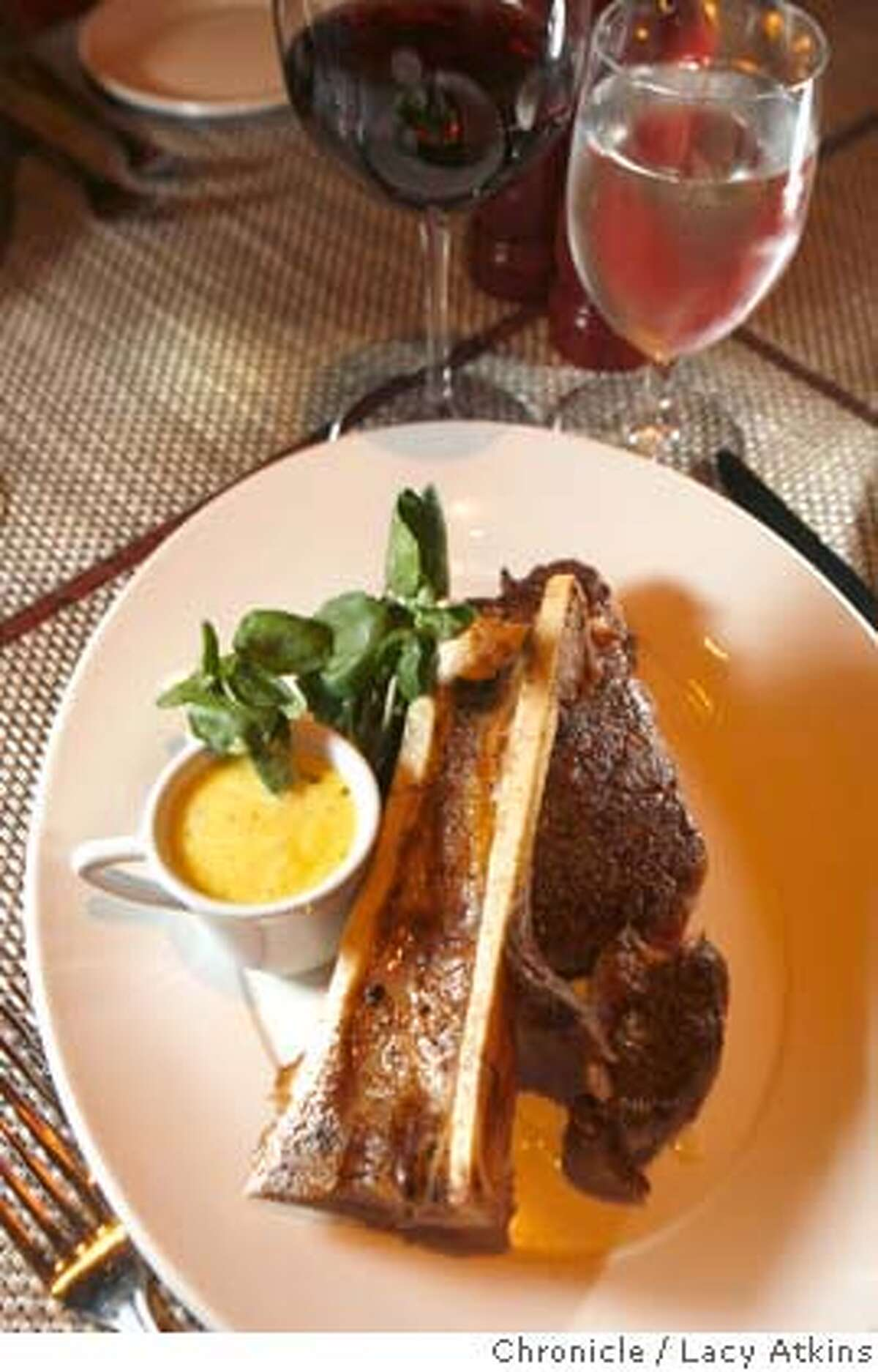 Stark's Steakhouse features a 16 ounce rib eye with bone marrow on top on, Wednesday April 2, 2008, in Santa Rosa, Calif. Photo by Lacy Atkins / San Francisco Chronicle