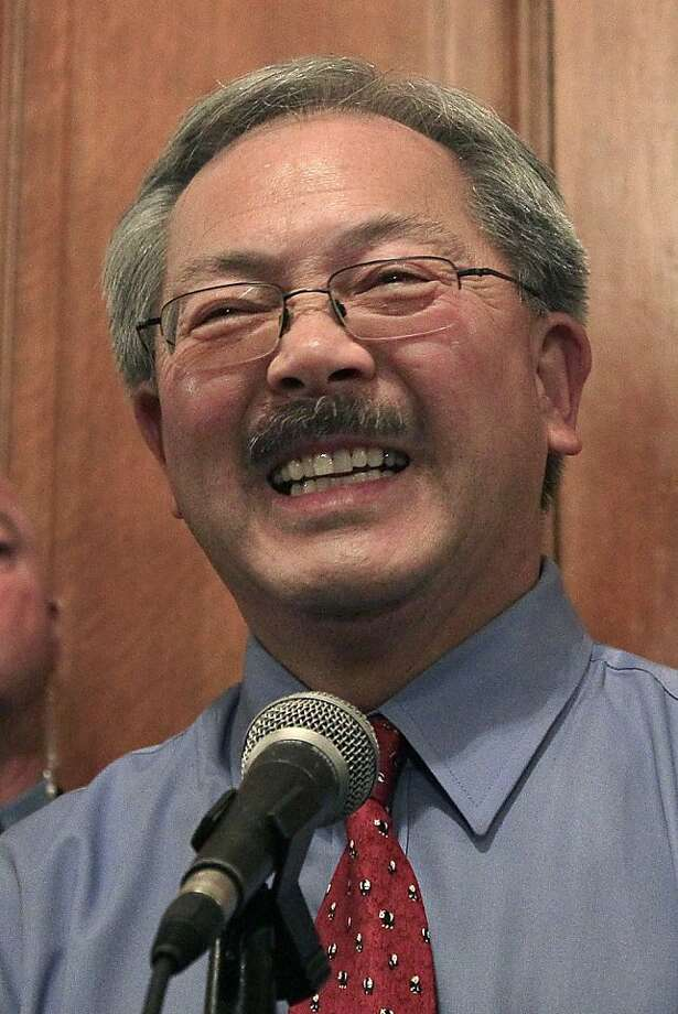 FILE - This Nov. 9, 2011 file photo shows San Francisco Mayor Ed Lee at a news conference outside of his office at City Hall in San Francisco. Lee, who as interim mayor closed a $380 million deficit to balance the city budget this year, pledged during his campaign to invest $5 million in the coming year to help small businesses like those scattered across Chinatown and other distressed neighborhoods. (AP Photo/Jeff Chiu, File) Photo: Jeff Chiu, AP