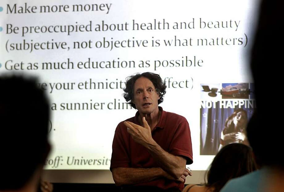 "Instructor, Fred Luskin co-teaches the ""Happiness"" ""The Pursuit of Happiness and Health""  course, at Stanford University in Palo Alto, Ca., on Tuesday September 27, 2011. Stanford University is offering a class on happiness- tips and tricks and things that stressed-out, over achieving students can build into their lives to be happier and more stress free. Ran on: 11-29-2011 Fred Luskin describes how achieving many goals still might not lead to happiness. Photo: Michael Macor, The Chronicle"