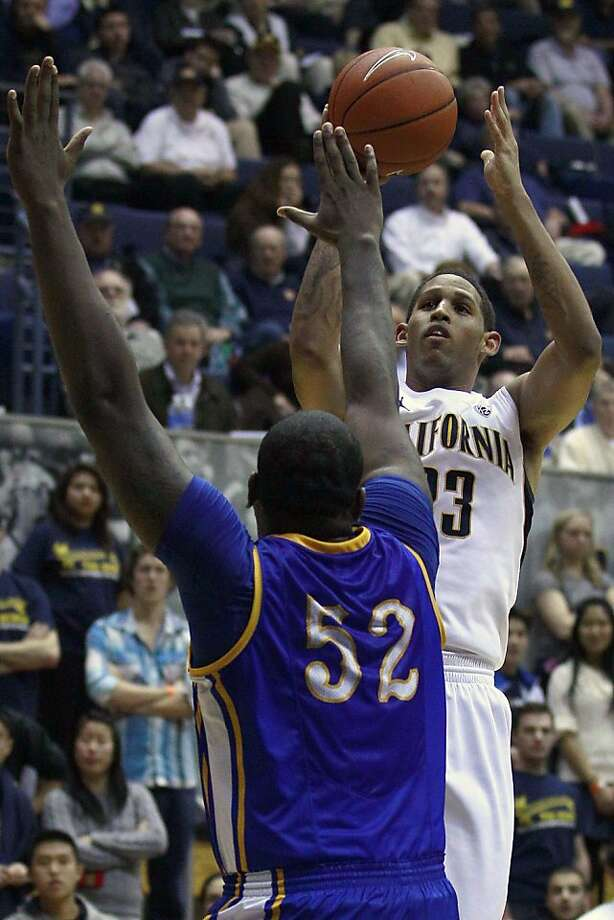 California guard Allen Crabbe (23) shoots over McNeese State center Rudy Turner (52) during the second half of an NCAA college basketball game in Berkeley, Calif., Monday, Nov. 28, 2011. California won 73-57. (AP Photo/Jeff Chiu)  Ran on: 12-03-2011 Crabbe hit a big shot to help Cal get past McNeese State on Monday. Ran on: 12-03-2011 Crabbe hit a big shot to help Cal get past McNeese State on Monday. Photo: Jeff Chiu, AP