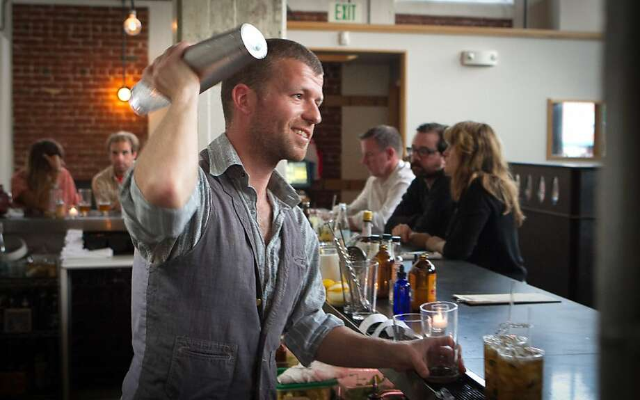 Bartender Roland Blandy shakes a cocktail at Serpentine Restaurant in San Francisco, Calif., on Saturday,  September 24th, 2011. Photo: John Storey, Special To The Chronicle