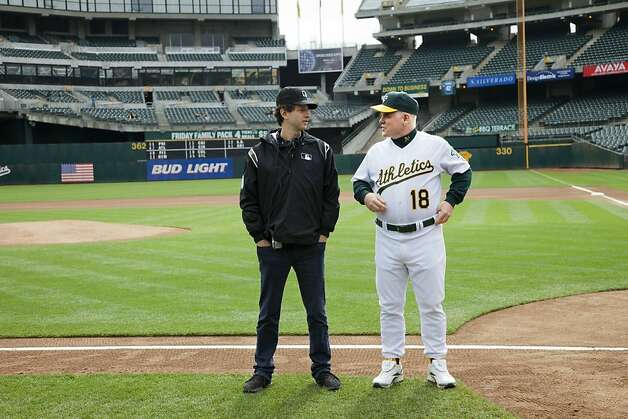 """Moneyball"": director Bennett Miller and Phlip Seymour Hoffman as Art Howe. Photo: Sony Pictures"