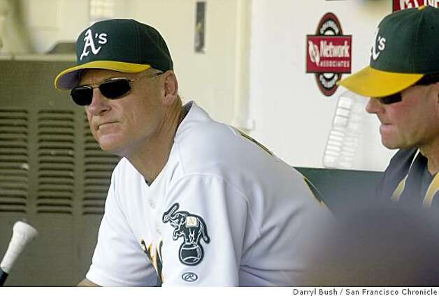 2002: Oakland Athletics manager Art Howe sits in the dugout after the Twins go up 5-1 in the ninth inning vs. Minnesota Twins in the final game of the AL Division Series at Oakland. Photo: Darryl Bush, San Francisco Chronicle