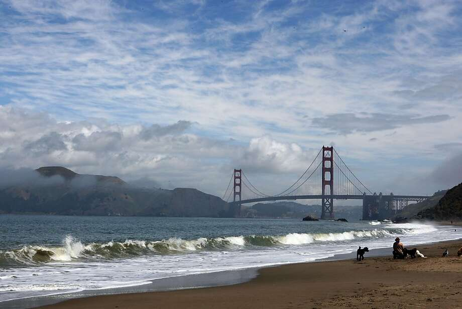 Baker Beach at the bridge side of the beach in San Francisco, Calif., had a higher score in contrast to the Lobos Creek side of the beach from the Heal the Bay report card on Tuesday, May 25, 2010.    Ran on: 05-27-2010 Baker Beach at the bridge end had a higher rating than where Lobos Creek meets the waterfront, one of the worst spots in the Bay Area. Ran on: 05-27-2010 Baker Beach at the bridge end had a higher rating than where Lobos Creek meets the waterfront, one of the worst spots in the Bay Area. Photo: Liz Hafalia, The Chronicle