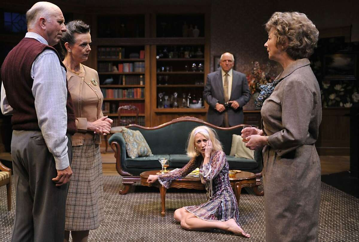 """Agnes (Kimberly King, right) tries to keep the peace between friends Harry and Edna (Charles Dean and Anne Darragh, left) her daughter Julia (Carrie Paff) and husband Tobias (Ken Grantham) in Edward Albee's """"A Delicate Balance"""" at Aurora Theatre Ran on: 09-10-2011 Agnes (Kimberly King, right) tries to keep the peace between Harry and Edna (Charles Dean and Anne Darragh, left), daughter Julia (Carrie Paff) and husband Tobias (Ken Grantham) in A Delicate Balance."""