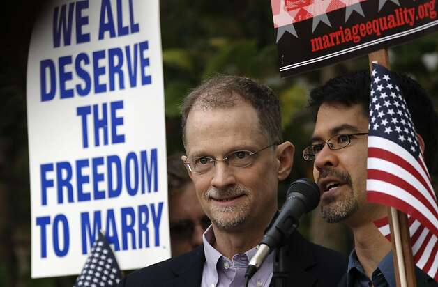 "John lewis, (left) and Stuart Gaffney, the original plaintiffs in the Prop 8 battle,  say a few words beofre the start of the hearing, as same-sex couples and their families hold a , ""No Standing for Prop 8"" sit-in in front of the California State Building in San Francisco, Ca., on Tuesday September 6, 2011. Earlier a federal district court found that proposition 8's exclusion of loving, committed couples from marriage violated the fundamental fairness and equality guarantees of our constitution. Photo: Michael Macor, The Chronicle"
